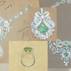 Sketches of legendary jewels from the Tiffany Archives.