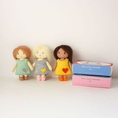 So small and cute!  Can't wait to make!! Little Mini Felt Dolls Matchbox Cuties  PDF Digital by RobinMiyo