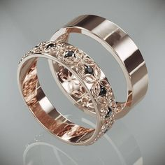 Flower wedding ring - Rose Gold Celtic Flower Wedding Rings Set with Diamonds His and Hers Rose Gold Celtic flower Wedding Bands Set with Diamonds – Flower wedding ring Celtic Wedding Bands, Wedding Band Sets, Diamond Wedding Bands, Wedding Rings, Wedding Flowers, Gold Wedding, Wedding White, Bridal Rings, Trendy Wedding