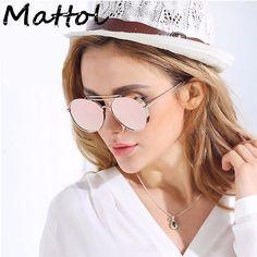 Mattol pilot Sunglasses Women Brand Designer UV400 Shades Golden Eyewear Female Metal frame Aviator Sun glasses girl New Oculos