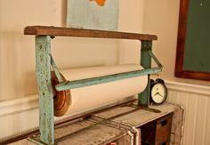 Antique butcher paper dispenser- playroom