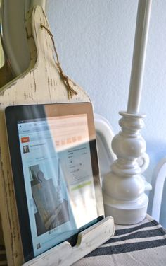 Shabby Chic Wooden Kitchen iPad Stand in Old by LissetandCompany
