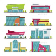 Buy Shopping Center, Mall and Supermarket Modern Flat by MicrovOne on GraphicRiver. Shopping center, mall and supermarket modern flat vector buildings. Supermarket city and architecture building mall c. Building Illustration, Flat Illustration, Mall Design, Design City, Retail Facade, Building Front, Supermarket Design, Shop House Plans, Lounge