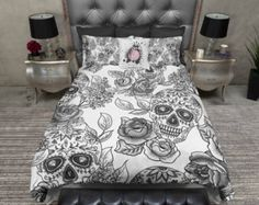 Lightweight Sugar Skull Bedding Black Mega Print by InkandRags