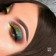 - Green yellow eye makeup snake eye makeup Indian eye makeup exotic makeup – Green yellow eye make - Cute Makeup, Glam Makeup, Pretty Makeup, Skin Makeup, Makeup Inspo, Makeup Art, Makeup Inspiration, Indian Eye Makeup, Exotic Makeup