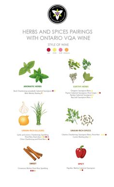 Herbs & Spices : How to Pair Them with Ontario VQA Wine | While most oenophiles have at least a general understanding of smart wine-protein pairings, knowing which wines to pair with which herbs and spices is a bit trickier. Here's a helpful primer to guide you in your wine selections.