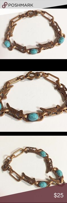 "Vintage Copper Faux Turquoise Roadrunner Bracelet Vintage copper roadrunner link bracelet.  Has 3 faux turquoise stones.  Measures 6 3/4"" plus the hook clasp.  In great vintage condition. Jewelry Bracelets"