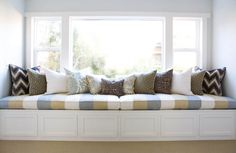 The Window Seat has been applied in many house since century. Small backless sofa is a must to use window seat.The window seat idea had Decor, Furniture, Window Seat, Interior Design, Home Decor, Bedroom Window Seat, Room, Window Seat Cushions, Bedroom Windows