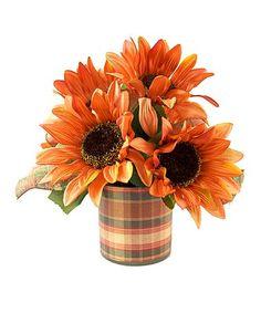 Look at this #zulilyfind! Orange Sunflower Arrangement #zulilyfinds