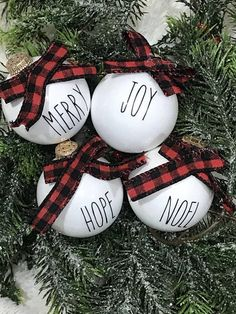 *Rae Dunn Inspired Christmas Ornaments* • • • This listing is for a set of four (4) Rae Dunn inspired Christmas ornaments. These ornaments measure approximately 2.75inX2.75in. • • • Your set of four (4) ornaments will come in random sayings. No two sets will be the same! • • • These