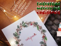 Christmas Fingerprint Wreath decoration christmas party   Etsy Baby Shower Themes, Baby Shower Decorations, Tree Decorations, Christmas Decorations, Wedding Fingerprint Tree, Fingerprint Art, Nice Memories, Presentation Pictures, Gift Drawing