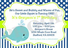 Printable Invitation  Whale of a Party  I design  by ciaobambino, $12.00