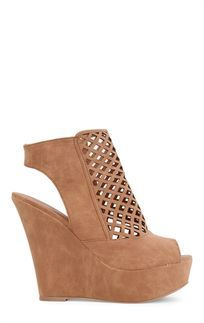 Peep Toe Platform Wedge with Cutout Diamond Upper