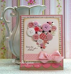 Card with beautiful heart collage made of buttons