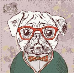 #irina_temlyakova, Vintage illustration of hipster pug dog with glasses and bow in vector on vintage background