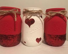 Decorated Mason jars by TouchedByKiki Rustic Mason Jars, Mason Jar Gifts, Mason Jar Candles, Painted Mason Jars, Mason Jar Diy, Valentines Day Decorations, Valentine Day Crafts, Wine Bottle Crafts, Jar Crafts