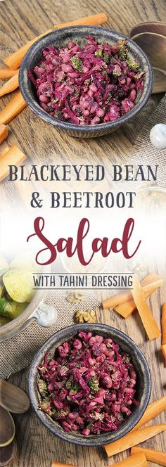Black-eyed bean & beetroot salad with a delicious tahini sauce by Trinity #beetroots #vegan