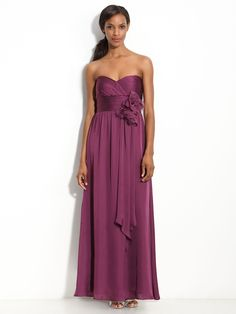 Sweetheart Sheath/Column Chiffon Bridesmaid Dress With Hand-Made Flower