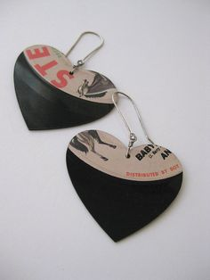 Love Song Earrings recycled 45 rpm record earrings by Xappaland, $36.00