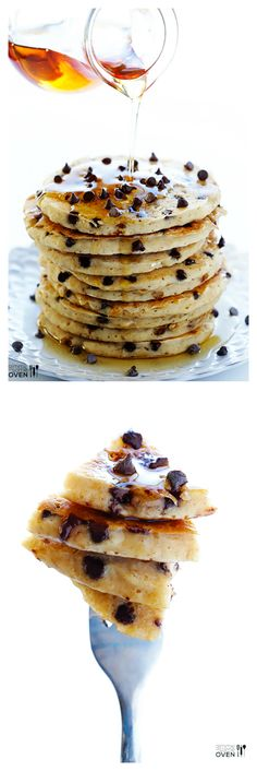 Guiltless Chocolate Chip Pancakes -- made with simple, delicious ingredients, and ready to go in 20 minutes! | gimmesomeoven.com