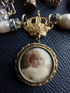 sentimental victorian assemblage upcycled necklace, rolled gold photo locket neckpiece, pearls reinvented, crystal and pearl, ocean inspired