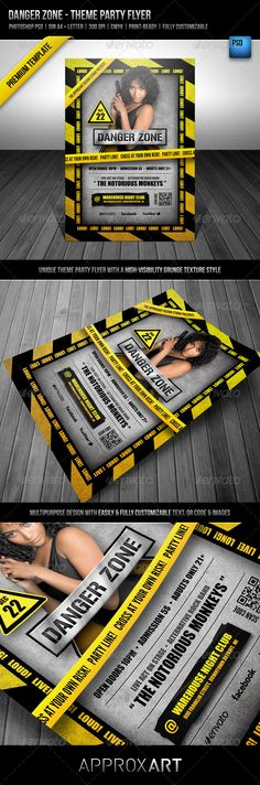 Danger Zone  Theme Party Flyer — Photoshop PSD #silver #professional • Available here → https://graphicriver.net/item/danger-zone-theme-party-flyer/2561644?ref=pxcr