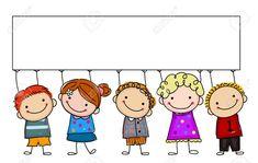 Niños De Dibujo Con La Bandera Ilustraciones Vectoriales, Clip Art Vectorizado Libre De Derechos. Image 44612973.