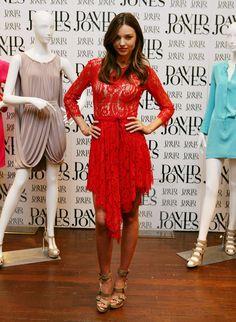 Miranda Kerr in red lace dress, David Jones