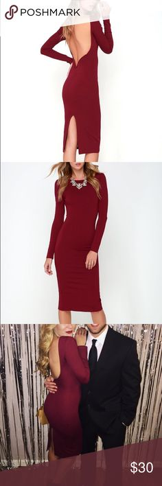 Lulus Va Va Voom dress Lulus Va Va Voom dress. Wine color. Size small and true to size. Length is to knee/mid calf, measures 42'' from shoulder to hem. Waist and hip- stretchy. Can be worn with adhesive bras, petals, or no bra. Back has hidden V-bar for structure. Unlined. 65% Rayon, 30% Nylon, 5% Spandex. Worn once, then dry cleaned. Hand wash cold, and made in the USA  Lulu's Dresses Midi
