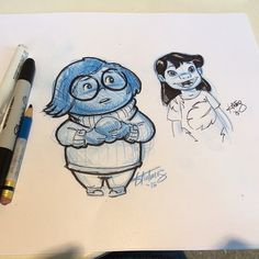 Quick end of the day sanity sketches of LILO and Sadness for the end of day. #pixarinsideout #insideout #disney #art #animation #sanitysketch #sketches #characterart #pixar #pindesigner #disneyartist