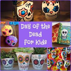 Day of the Dead - super cute and fun Sugar Skull crafts for kids to make for Day of the Dead or Halloween Halloween Activities, Halloween Crafts, Fall Crafts, Holiday Crafts, Holiday Fun, Preschool Halloween, Halloween Halloween, Vintage Halloween, Halloween Makeup