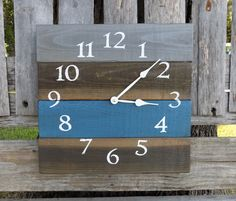 Grey, Blue, and Stained Square Clock