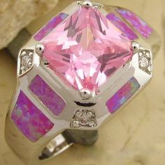 'Exquisite Lab Pink Topaz & Opal Ring' is going up for auction at  9pm Sun, Jun 23 with a starting bid of $10.