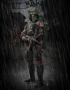"""""""Boba Fett, Nazi SS"""" A long, long time ago in a parallel universe… Boba Fett was a Nazi SS working for the Third Reich. This is a concept design art I did after thinking about the similarities between The Empire and The Third Reich. #starwars #boba #fett #mandalorian #nazi #thirdreich #mp40 #1940s #ww2 #star #war #gun #bountyhunter #photoshopart #concept #conceptart #art #character #characterconcept"""