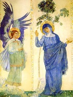 """""""Blessed art thou amongst women"""" This is SO beautiful! 1895 Mikhail Vasilievich Nesterov (Russian 1862-1942) ~ The Annunciation"""