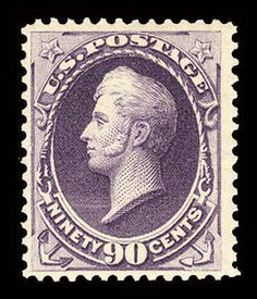 USA 1888 90c purple, beautiful color, well centered, n.h. and post office fresh, fine, with 2000 PFC, (Catalog value 2,477.25€)  Dealer Cherrystone Auction  Auction Estimate price: 1400.00US$ Old Stamps, Rare Stamps, Vintage Stamps, Painting Words, Picture Postcards, Old Coins, Purple Rain, Stamp Collecting, Post Office