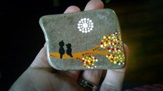 Hand Painted Stone ~  Love Birds on a Tree Under the Moon ~Dot Art Painted Rock ~ MAGNET ~ Unique Colorful Home Decor Ornament by P4MirandaPitrone on Etsy