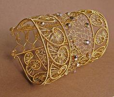 Greek arabesques bracelet wire woven. $140.00, via Etsy.