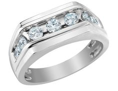 Mens Diamond Wedding Band 1.0 Carat (ctw) in 10K White Gold