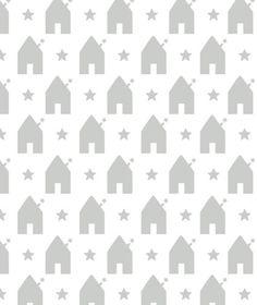 Décoration chambre enfant : Lé de papier peint intissé,maison & étoiles (gris)