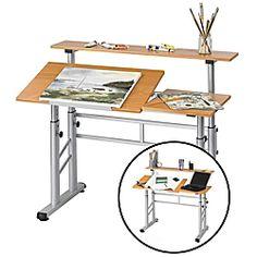 "Safco® Height-Adjustable Split-Level Drafting Table, 37 1/4""H x 47 1/4""W x 29 3/4""D, Medium Oak"