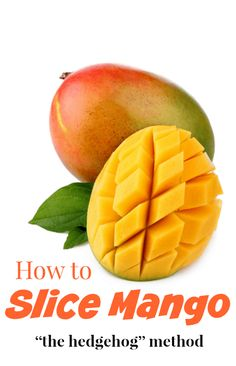 "Learn how to slice a mango in just 3 easy steps. This method for cutting a mango is called the ""hedgehog"" method. Step-by-Step tutorial with photos. Clean Eating Snacks, Healthy Snacks, How To Cut A Mango, Smoothie Prep, Smoothie Recipes, Mango Recipes, Exotic Food, Cookbook Recipes"