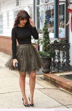 Olive skirt and black blouse