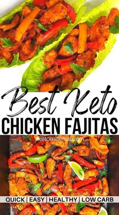 Oven baked low carb sheet pan fajita chicken in under 30 minutes! These low carb chicken fajitas are healthy, full of flavour and easy to throw together. They also make perfect keto meal prep recipe for quick keto lunches for work. Easy Crockpot Chicken, Chicken Fajita Recipe, Chicken Fajitas, Keto Chicken, Chicken Recipes, Keto Recipes, Dinner Recipes, Lunch Recipes, Crockpot Recipes