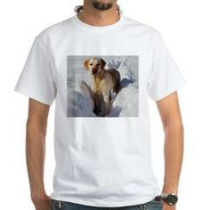 yellow lab in snow T-Shirt > Labrador Retriever > Paw Prints