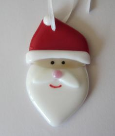 Christmas Santa Fused Glass Ornament | eBay