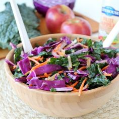 Kale Apple Slaw is a delicious & healthy twist on traditional coleslaw, perfect served as a side dish or added to sandwiches!