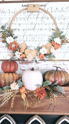 Turn a hoop into a Wreath by adding lambs ear and wood slices from Hobby Lobby. Add color with flowers and small pumpkins from Dolla… – Decoration Thanksgiving Decorations, Seasonal Decor, Holiday Decor, Diy Fall Wreath, Fall Wreaths, Fall Home Decor, Autumn Home, Small Pumpkins, White Pumpkins