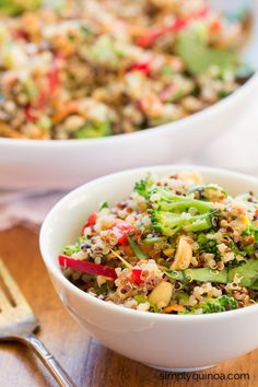 Clean Eating Peanut Thai Quinoa Salad with crunchy veggies and a cream dressing