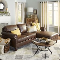 Brown Build Your Own Alton Leather Sectional - Tobacco - Hardwood